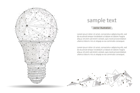 Low polygon light bulb wireframe mesh hanging,from lines and points