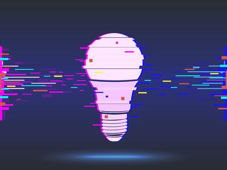 light bulb,glitch design,neon icon, abstract background.vector Ilustracja