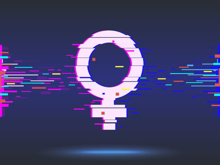 Female symbol.glitch design,neon icon, abstract background vector
