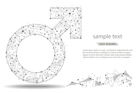 Abstract design of male symbol. isolated from low poly wireframe on white background. Vector abstract polygonal image mash line and point. for printing and web elements