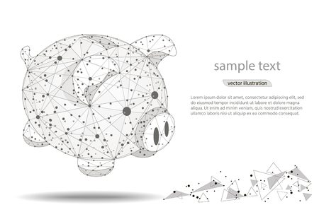 piggy bank. abstract design,isolated from low poly wireframe on white background. Vector abstract polygonal image mash line and point. Elegant dots for business presentations. Digital graphics  イラスト・ベクター素材