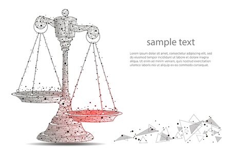 Scales of justice. Abstract design of scales, in the form of lines and dots on a white background with space for text.  illustration