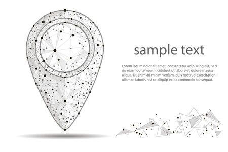 Pin Pointer.isolated from low poly wireframe on white background.  abstract polygonal image mash line and point.