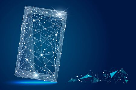 abstract design of mobile phone smartphone. isolated from low poly wireframe on space background.  abstract polygonal image mash line and stars.for printing and web elements