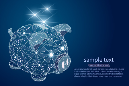 piggy bank  abstract design, low poly wireframe in the form of outer space and stars.