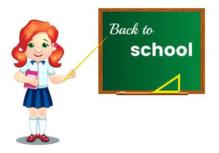 Schoolgirl, near the blackboard, back to school.