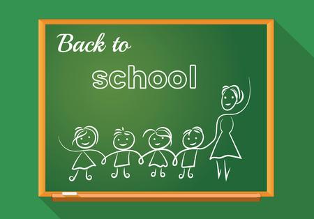 School board, stylization, lines, teacher with school children