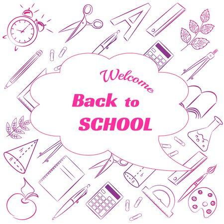 back to school. school items. consists of lines. illustrations Zdjęcie Seryjne