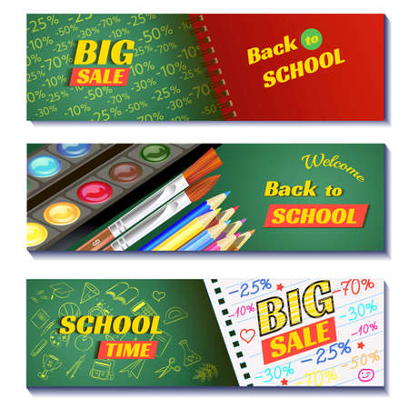 Back to school sale 3d banners design. Can use for marketing, promotion, flyer, blog, web, social media.