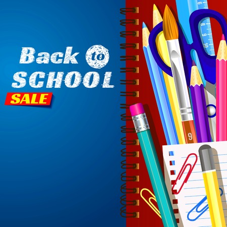 Back to school, banner design. Templates with supplies tools. Place for your text. Layered realistic 3d.