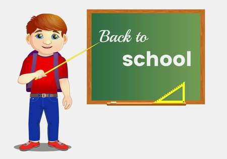 schoolboy, near the blackboard, back to school. illustration. Zdjęcie Seryjne