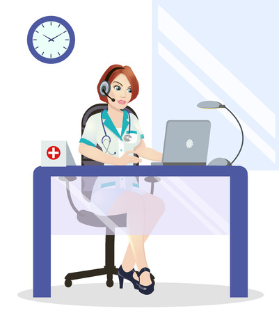 Medical call center operator at work. isolated on white background. Emergency concept with medical helpline operator wearing headset sitting at table and consulting people, Zdjęcie Seryjne