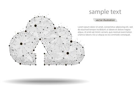 Cloud storage abstract design,isolated from low poly wireframe on white background. Vector abstract polygonal image mash line and point. Digital graphics illustration Ilustracja