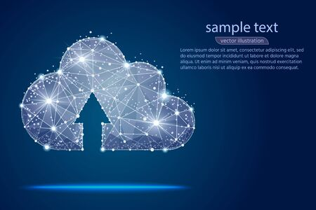 cloud storage abstract design, isolated from low poly wireframe on background of space and stars. Vector abstract polygonal image mash line and point. Digital graphics illustration
