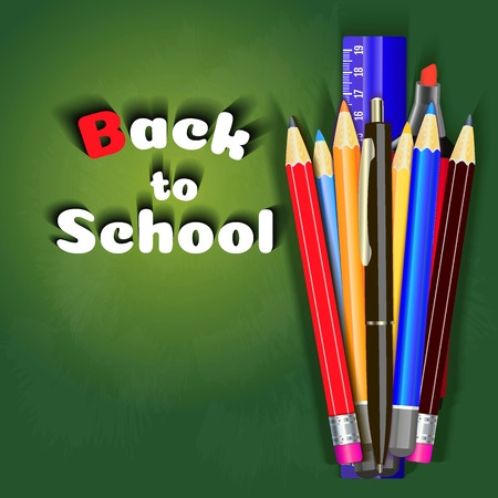 Back to school sale banner design in red background with school items and objects for store discount promotion. illustration. Zdjęcie Seryjne