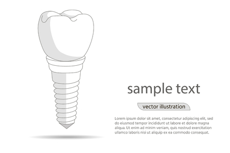 Dental implant icon. Implantation dentistry and care to teeth illustration.