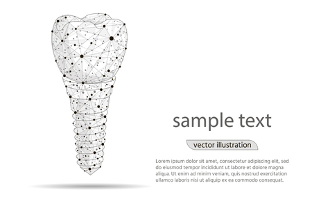 Abstract design dental implant Icon,isolated from low poly wireframe on white background.