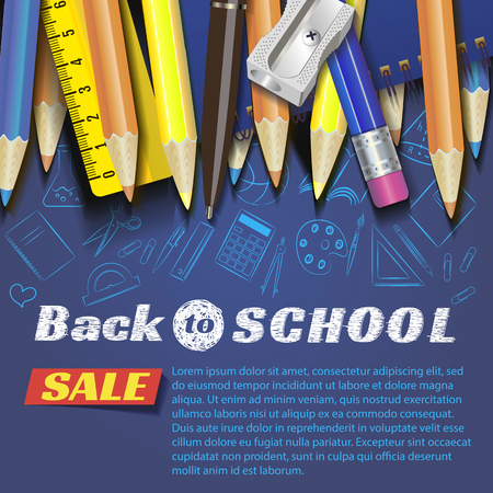 Back to school design in red background with school items and objects for store discount promotion.Sale Die cut Banners with Colorful School Elements. Illustrator Standard-Bild