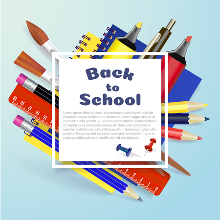 Back to school design in red background with school items and objects for store discount promotion.Sale Die cut Banners with Colorful School Elements. Illustrator Zdjęcie Seryjne