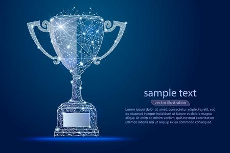 Coppa del vincitore di design astratto, logo isolato da wireframe low poly. Linea e punto di poltiglia di immagine poligonale astratta di vettore. Grafica digitale