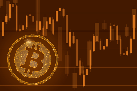 Bitcoin cryptocurrency ICO coin sale event - blockchain business banner concept.The falling of Bitcoin illustration. Decrease graph