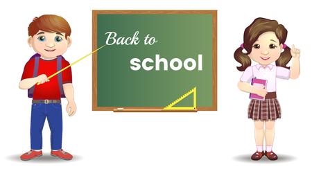 Cute school kids standing near blackboard. Back to school concept.Pupils Group Over Class Board Back To School Banner Vector Ilustracja