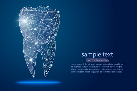 abstract design dental dental clinic, logo low poly wireframe. Vector abstract polygonal image mash line and point. Digital graphics illustration Zdjęcie Seryjne
