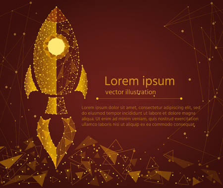 rocket startup,in the form of golden sand.isolated from low poly wireframe background.business concept, Vector abstract geometric polygonal image mash line and point.