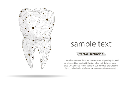 abstract design dental dental clinic, logo isolated from low poly wireframe on white background. Vector abstract polygonal image mash line and point. Digital graphics