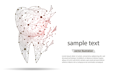 toothache, abstract design sick tooth, dental care,isolated from low poly wireframe on white background,Dental care concept vector illustration.