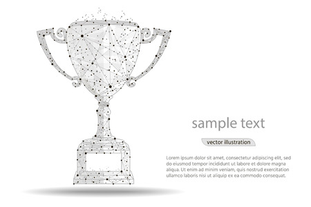 abstract design winner cup , logo isolated from low poly wireframe on white background. Vector abstract polygonal image mash line and point. Digital graphics