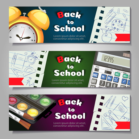 A set of three horizontal banners with school supplies and elements.Templates with supplies tools. Vector shopping banner.