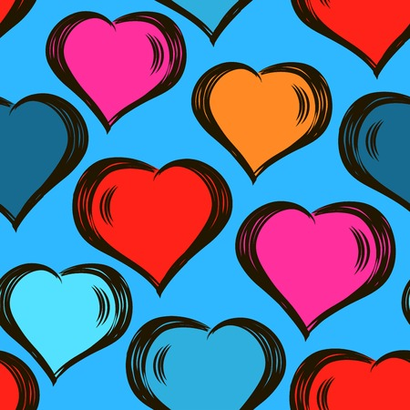 seamless stylish pattern with hand drawn hearts. Valentines Day.modern design. For wrappers, fabrics, textiles, wallpapers, web design.