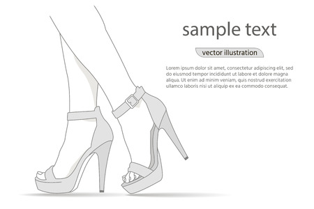 Woman legs in fashion high heels shoes. Fashion illustration.Vector girl in high heels