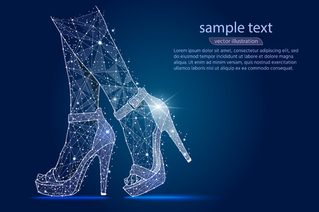womens legs in shoes, high heels.abstract design ,logo isolated from low poly wireframe on space background. Vector abstract polygonal image mash line and stars. Digital graphics illustration. Logo