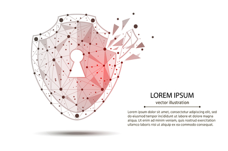 Cyber-Security Technology. Security Violation. shield, created from lines and points with elements of destruction. Isolated from low poly wireframe on white background.