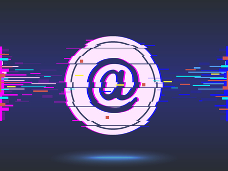 email.glitch design,neon icon, abstract background.