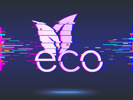 Eco food,glitch design,neon icon, abstract background  illustration. organic bio products, eco friendly, vegan icon