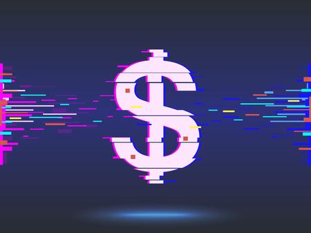 dollar icon.glitch design,neon icon, abstract background. Zdjęcie Seryjne