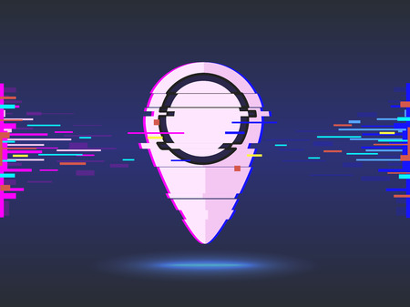 Pin Pointer.glitch design, abstract background.  illustration