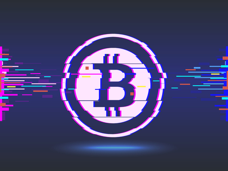 Bitcoin digital currency coin.glitch design, abstract background.cyber network background.  illustration