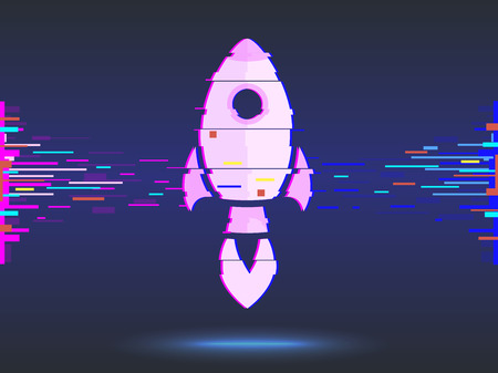 rocket startup,bright neon,business concept. glitch design, abstract background.  illustration
