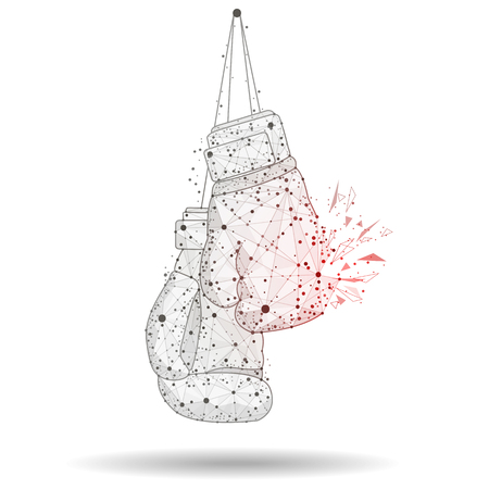 boxing gloves abstract design Icon,isolated from low poly wireframe on white background.  abstract polygonal image mash line and point. Digital graphics Zdjęcie Seryjne