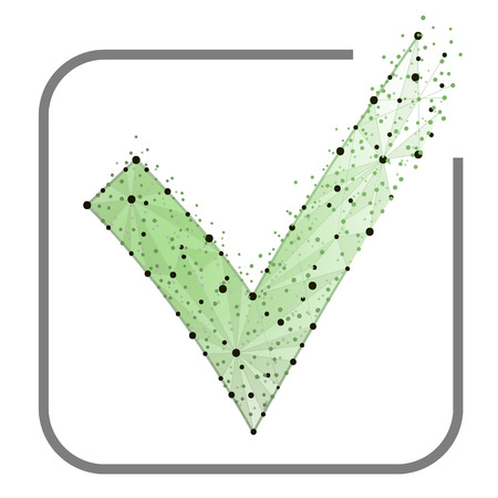 Abstract design, Green check mark icon. Tick symbol in green color