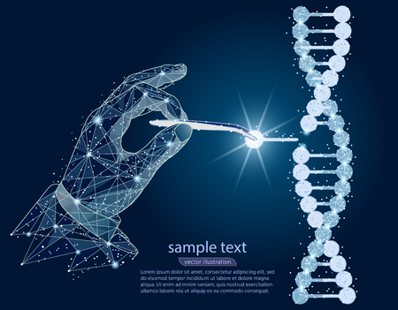 conception abstraite. Manipulation de la double hélice d'ADN avec les mains, une pince à épiler. isolé du filaire low poly sur fond blanc. Ligne et point de purée d'image polygonale abstraite de vecteur.