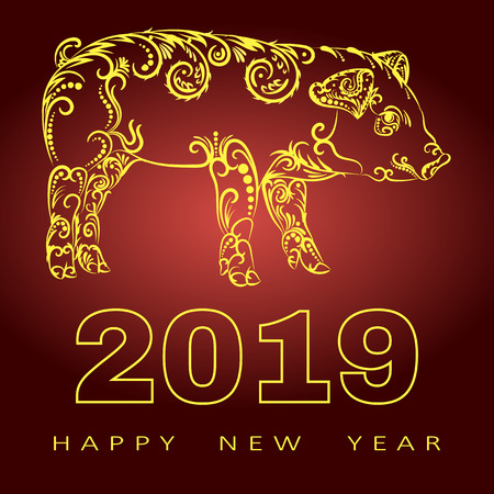 Happy chinese new year 2019 card with gold pig zodiac. Gold paper cut art and craft style. Silhouette of a pig consists of a floral pattern.