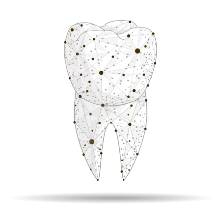 Logo of the dental clinic. Created in the form of lines and dots, on a white background. Abstract design. isolated from low poly wireframe. Zdjęcie Seryjne