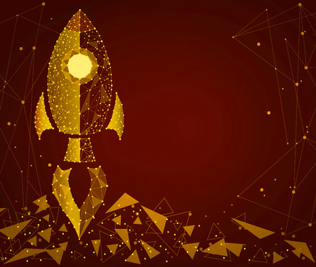The concept of a startup, business. A rocket in the form of golden sand. Isolated from a low profile frame background. Business concept.