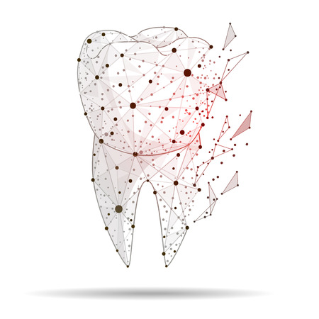 Abstract design of a sick tooth, with the effect of fracture. dental care, isolated from low poly frame on white background, dental care concept, abstract polygonal line of image and dot point.