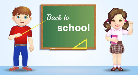 Back to school. Pupils near the blackboard. artoon character near blackboard. Great illustration for a school books and more.